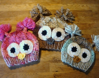 Owl Hat for Kids and Adults - Tweed Stripe Owl Beanie - Hand Knit & Crochet Owl Hat - Photo Prop Animal Hat