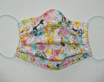 """Premade Pleated Double Gauze Facial Mask for Teens and Adults """"Tsum Tsum - Blue Stripe"""" & Tio Tio Antibacterial Gauze"""" Size M"""