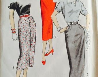 Advance 8286, Size 24 Waist, Misses' Skirt Pattern, UNCUT, Advance Sew-Easy Pattern, Vintage, 1950's, Wiggle Skirt, Built-Up Waistline