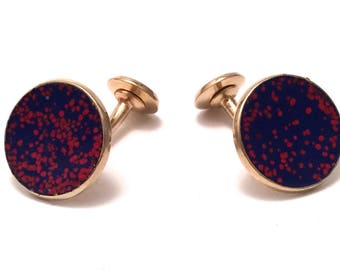 Enamel Cuff Links Mid Century Red and Blue