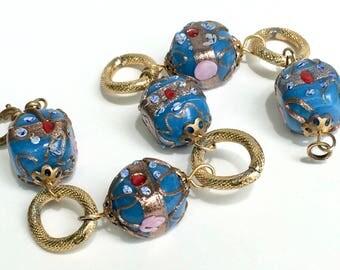 Glass Italian Wedding Cake Bead Bracelet