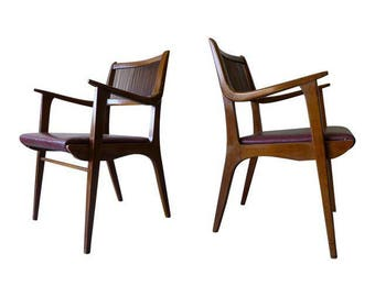 Pair of Walnut Mid Century Modern ARMCHAIRS John Van Koert for Drexel