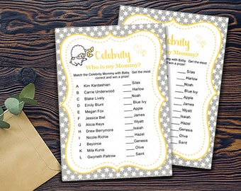 Little Lamb Shower Games- Celebrity Name Game-DIGITAL INVITATION-Printable Invite Card - Baby Lamb Shower Card - Grey Yellow White Stars