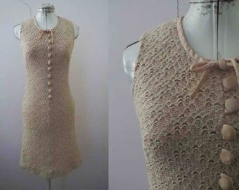 60s Buttermilk Ivory Beige Crochet Knit Shift Dress Teena Paige