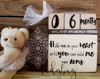Hold me in your heart until you can hold me in your arms. Countdown days until Grandparents.  Set of blocks  by Ladybug Design by Eu