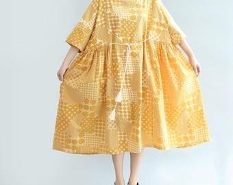 summer round collar long short sleeve dress comfortable Long Oversize sundress yellow maternity dress