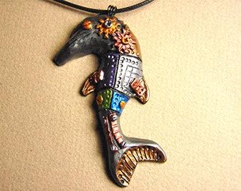 Polymer clay steampunk dolphin