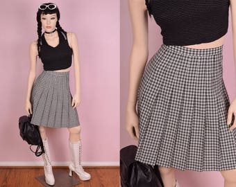 80s Black and White Plaid Pleated Skirt/ US 10/ 1980s