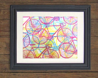 Cycling Print - Multi Color Linocut Collage Art