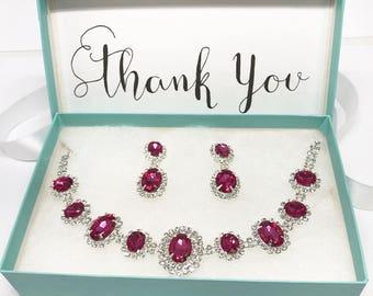 Wedding jewelry set, Hot Pink Fuchsia necklace earrings, vintage inspired pink rhinestone choker necklace statement, crystal jewelry set