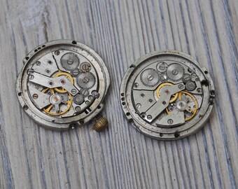 SLAVA 0.9 inch Set of 2 vintage wrist watch movements.