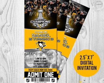 Pittsburgh Penguins NHL Stanley Cup Champions Printable Birthday Invitation