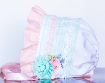 Baby Bonnet - Ivory Newborn Photo Prop - Vintage Inspired Prop - Baby Hat - Newborn Bonnet - Pink Bonnet - M2M - Baby Bonnet