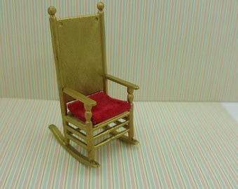 Wicker Rocking Chair  Rocker  Toy Furniture Doll House Miniatures Gold Hard Plastic Hong Kong