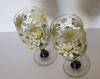 Handpainted Beverage Glasses Busy Bumble Honey Bee set of 2