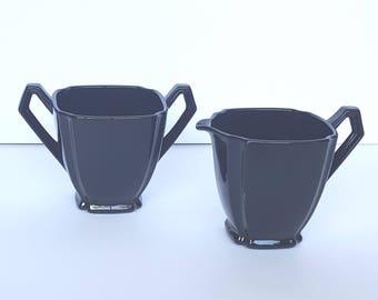 Glossy Black Glass Sugar Bowl and Creamer Set Vintage