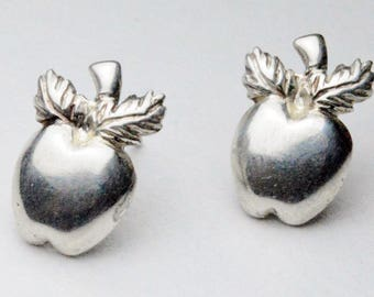 SALE Vintage Sterling Silver Apples Puffy Style Pierced Post Stud Earrings