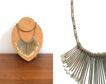 Vintage Fringe Bib Necklace / Metal Spoon Necklace / Festival Hippie Boho Tribal Necklace