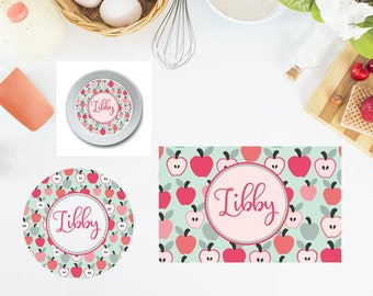 Apples Plate/Bowl/Placemat . Personalized Plate/Bowl/Placemat . Girls Plate/Bowl/Placemat . Prepppy Plate/Bowl/Placemat . Custom Plate