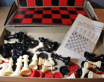 Vintage Chess and Checker Game - Whitman