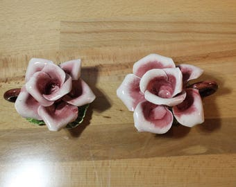 capodimonte porcelain rose candle holders