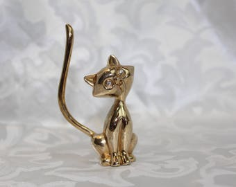 Vintage Brass Cat Ring Holder