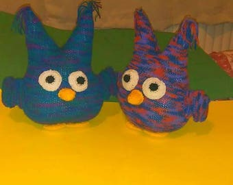 Owl hand knitted toy