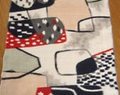 Vintage Midcentury Mod 60s Japanese Meisen Silk Kimono Fabric - (5) pcs. - Ivory w/ Black / Red / Gray Abstract Pattern.