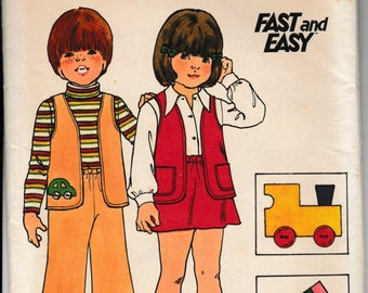1970's Sewing Pattern Butterick 3871 children's vest, pants, skirt with applique size 4
