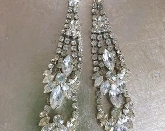 Art Deco Glamorous Rhinestone Pierced Dangle Earrings Stunning Retro Bride Fashion Jewelry