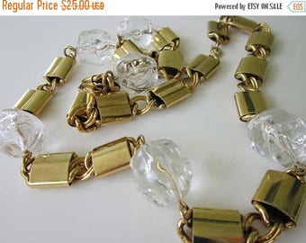 50% OFF Modernist Gold tone Link Chain with Clear Lucite Stone Necklace