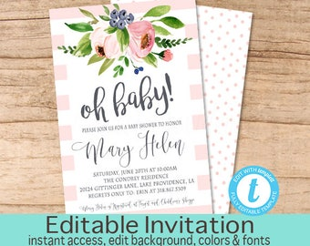 Baby Shower Invitation, Pink Floral Watercolor Baby Girl Shower invitation, Editable baby Invitation, Oh baby, Instant Download