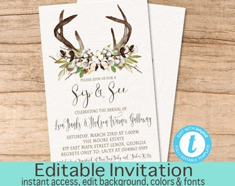 Sip and See Invitation, Cotton Antler Baby Sip and See Party Invitation, Editable Invitation, Rustic Cotton Invitation, Instant Download