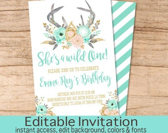Wild One Birthday Invitation, Peach Mint Gold Floral Invitation, First Birthday, Editable Birthday Invitation, Templett, Instant Download