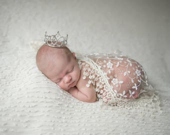 Cream Fringe Lace Wrap AND/OR Rhinestone Baby Crown for newborns, photographer, bebe, infant, by Lil Miss Sweet Pea