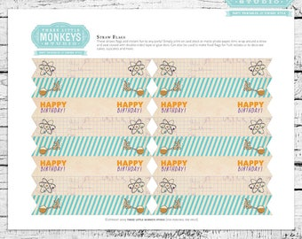 Science Birthday Straw Flags - Instant Download