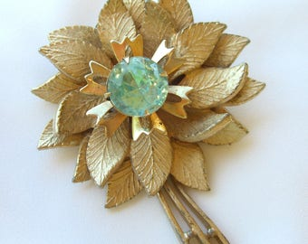 Topaz Rhinestone Brooch - Vintage 1950s 1960s - Retro Gold Tone Flower Power Jewelry