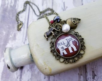 Alabama Football Necklace, Alabama Crimson Tide jewelry, University of Alabama, Alabama Elephant, Birmingham, Roll Tide Rammer Jammer, Bama