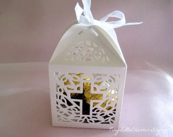 30 pieces Cross White Favor Boxes for Christening Favors, Baptism Party, Confirmation, First Communion Celebration, Religious Favors
