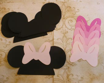 DIY Minnie Mouse Black Ears Cardstock You Choose Pink or Red or Polka Dot Bows for Crafts Photo Booth Birthday Party Weddings Props DIY
