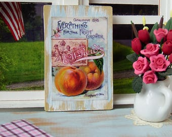 """Miniature Wooden sign 1:12 scale, """"Peaches"""" Vintage style"""