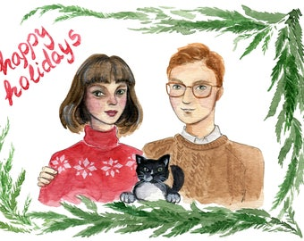 Custom Family Holiday Greeting Card - Personalized Illustration -  digital file, and original painting