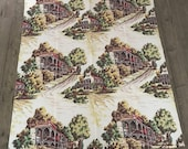 Vintage textured Barkcloth tablecloth or panel toile style