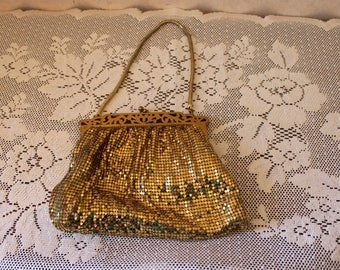 Vintage Whiting Davis Gold Mesh Evening Purse Clutch with Gold Metal Strap