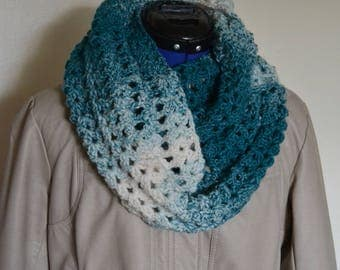 Soft Ombre Blue and White Infinity Scarf