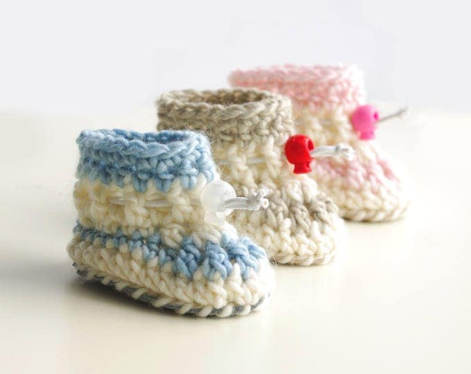 Crochet Baby Booties in Naturally Dyed Alpaca/Merino Wool Blend with Upcycled Suede Soft Sole