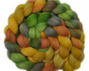 Hand painted combed top roving - Silk / Shetland wool 30/70% spinning fiber - 4.0 ounces - Lemon-Lime Sorbet 1
