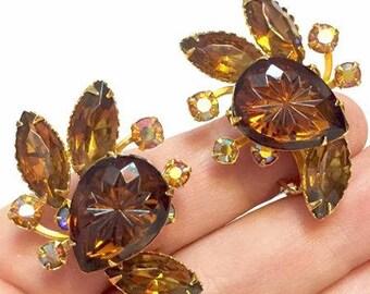 Vintage Brown Glass and Rhinestone Earrings by Beau Jewels