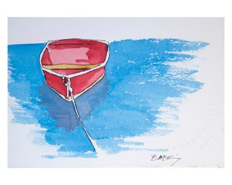 Signed Watercolor Print, Red Life Boat, 8.5x11 inches, Vacation art, travel drawing, dunes, ocean, salt water