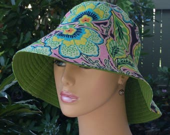 Chemo Hat Beach Hat Wide Brim Hat Made in the USA Sun Hat Alopecia Hat. MEDIUM